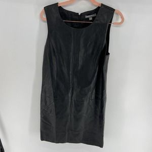 Tinley Road Mod Black Faux Leather Shift Dress